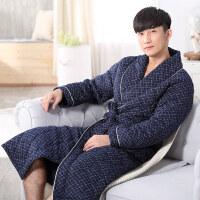 秋冬季男士浴袍加厚睡衣针织夹棉袄睡袍加长款男袍长袖家居服