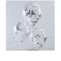 结婚气球 透明金色银色亮片气球纸屑气球结婚生日派对纸片婚房装饰七夕气球 银色 圆形亮片