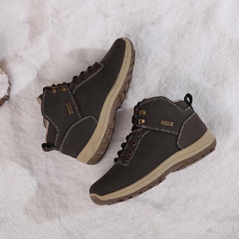 2018新款大码雪地靴男鞋冬季加绒保暖棉鞋男士马丁靴户外高帮英伦工装靴