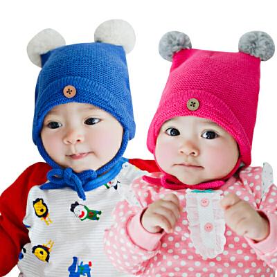 韩国KK树婴儿帽子秋3-6-12个月新生儿帽子宝宝保暖毛线帽子秋冬款