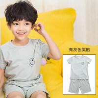 儿童睡衣夏季棉宝宝家居服男童女童短袖短裤套装薄款男孩空调服 青灰色 90cm