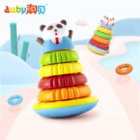 澳贝熊猫叠叠圈婴儿叠叠乐儿童益智套圈圈彩虹圈玩具宝宝套圈套叠 声光叠叠乐 认颜色辨形状 训练手眼协调