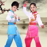渐变色武术服练功服短袖男孩女孩太极新款比赛表演服训练服
