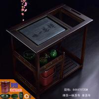 茶车实木移动茶台简约现代家用茶水柜茶盘阳台黑茶桌带轮套装