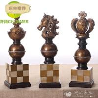 套三欧式象棋家居饰品摆件玄关电视柜样板房书房会所ktv软装饰品SN4874 一套三个的价格