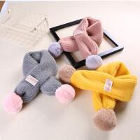 儿童围巾冬季男童童女童宝宝柔软保暖毛线围巾婴儿百搭毛球围脖潮