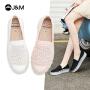 jm快乐玛丽2021夏季新款一脚蹬厚底水晶休闲百搭乐福鞋女鞋