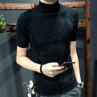 秋装半高领针织衫男士短袖薄款韩版修身套头毛衣潮流个性半袖上衣