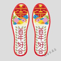 针孔鞋垫印花鞋垫半成品十字绣手工棉吸汗防臭鞋垫 白色 A060