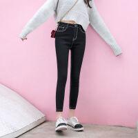 秋冬韩版黑色牛仔裤女九分裤学生显瘦百搭修身加绒小脚铅笔裤