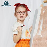【618年中庆 2件4折价:40】迷你巴拉巴拉女童短袖T恤2020夏新款宽松舒适女孩子度假风印花T恤