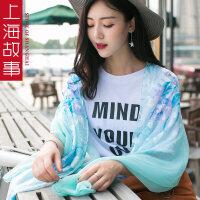 上海故事春夏季百搭女长款丝巾文艺韩国纱巾围巾披肩两用