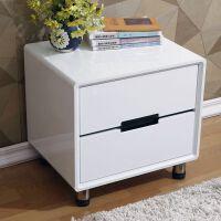 床头柜钢化玻璃面简约现代卧室储物柜白色烤漆二斗柜收纳床边柜JD