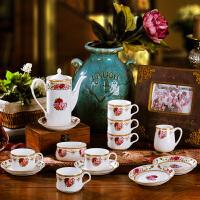 欧式咖啡具咖啡杯八头套装结婚英式陶瓷器下午茶茶具乔迁新居装饰品开业送人摆件礼物 21头雕金玫瑰 21件
