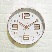 静音无声挂钟客厅个性创意时尚现代简约电池圆形玻璃时钟挂墙表 12英寸