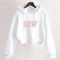 卫衣女加绒加厚学生韩版宽松短款高腰校园风女装冬季小个子保暖衣 NEW 白色