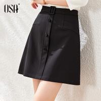 【2件3折到手价:145】OSA黑色高腰短裙a字裙女气质OL职业半身裙2021新款夏春季显瘦裙子