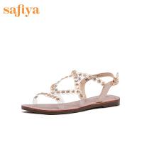【券后价:189元】索菲娅2020夏季专柜同款一字式扣带仙女风女鞋低跟凉鞋女SF02115063