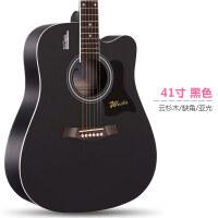 单板民谣吉他初学者学生女男新手入门练习木吉他40寸41寸乐器 41寸 黑色 (合板)