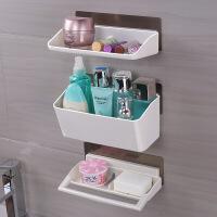 浴室置物架免打孔收纳架壁挂式卫生间洗漱用品收纳盒吸盘置物架子 乳白色 图片色