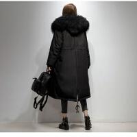 大毛领+羽绒服冬季收腰瘦女中长过膝大码胖mm200斤外套 S 85-110斤