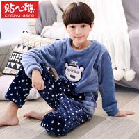 秋冬季法兰绒儿童睡衣宝宝加厚款男孩珊瑚绒家居服套装