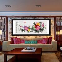 阳娇叶荫 富贵成双1.8米牡丹装饰画客厅沙发背景墙挂画招财风水国画中式餐厅壁画1383