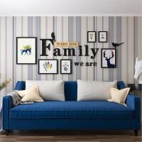现代简约实木照片墙北欧客厅创意相框墙字母组合卧室装饰挂墙相片