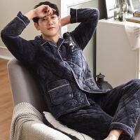 冬季三层夹棉袄加厚睡衣男士加肥加大码4XL保暖家居服法兰绒套装