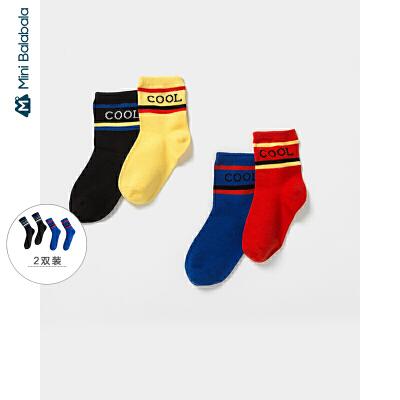 【年终狂欢 2件4折价: 24】迷你巴拉巴拉儿童袜子男童运动风短袜2019秋新款女童宝宝两双装袜