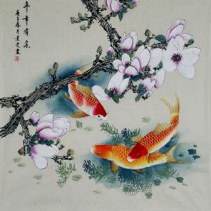 中美协会员,工笔协会会员,河南牡丹书画院院长陈景芝(年年有余)73