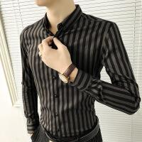 春季男士长袖衬衫男韩版修身潮流条纹衬衣加绒保暖休闲发型师寸衫