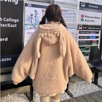 秋冬女装韩版可爱兔耳朵连帽系带毛球宽松拉链卫衣毛绒绒外套上衣 驼色