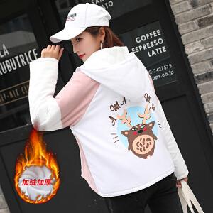 RANJU然聚2018秋冬季女装新品新款女学生棉服加绒加厚学院风宽松棒球服夹克短款外套