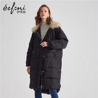 伊芙丽2019冬季新款连帽长袖宽松休闲加厚保暖羽绒服1A7986032