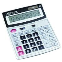 得力(DeLi)桌面型计算器 1664 12位大屏幕 塑胶按键 太阳能