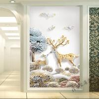 欧式玄关背景墙壁纸现代简约走廊过道客厅卧室墙纸壁画 仅墙纸