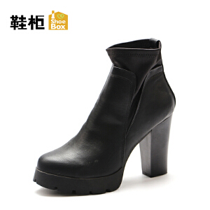 Daphne/达芙妮旗下鞋柜 冬季防水台圆头粗高跟加毛套筒短筒靴