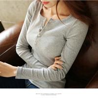 秋冬季女装韩版高领圆环拉链短款紧身修身显瘦学生长袖打底衫上衣 099 灰色 S 建议70-85斤