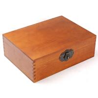复古长方形大中号小号带锁储物箱木质箱子实木盒子木头小型收纳盒