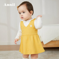 【3件3折价:80.7】安奈儿童装婴儿春季套装2020新款春洋气娃娃领女宝宝连衣裙两件套