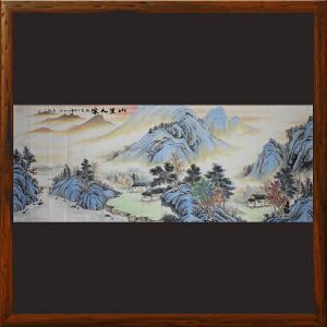 1.8米山水画《山里人家》石宏敬 ML1974 广西美协 专职画师