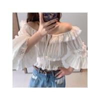 网红气质蕾丝衬衫女2019春季韩版一字肩显瘦上衣洋气甜美打底衫女 白色 现货