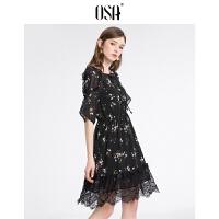 【领券到手价:111.3】OSA欧莎2019夏装 优雅印花蕾丝拼接连衣裙B13018