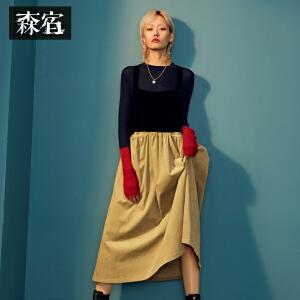 【低至1折起】森宿玩偶小红帽冬装文艺撞色拼接大口袋设计背带连衣裙