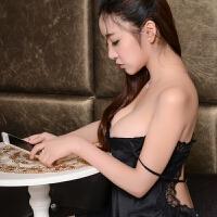 情趣内衣蕾丝吊带睡裙露背绸都市性感睡衣女夏冰丝诱惑丽人秋 黑色 160(M)