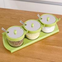 家用厨房玻璃调料罐便捷开盖调味罐不锈钢勺作料盒3件套味精盐瓶