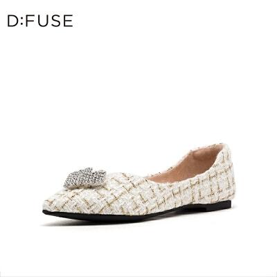 DFUSE/迪芙斯2019秋季新款时尚尖头扣饰低跟单鞋女DF93111021