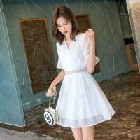 时尚品牌春装2019款女很仙的法国小众雪纺连衣裙女夏季甜美小个子仙女裙子SN8648 白色