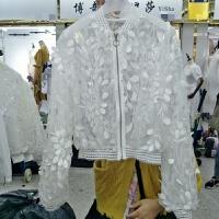 2018夏装新款韩版立领棒球服蕾丝花朵立体薄款短外套网纱防晒衣女 均码